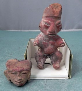 2 Ancient Antique Hand-Carved Clay Figures, Head