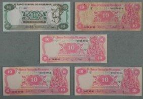 5 Nicaragua 10 Cordubas Bills (4) Crisp UNC