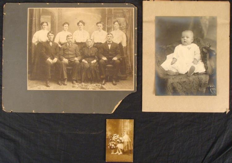 2 Large Antique Photographs, 1 Real Photo Postcard