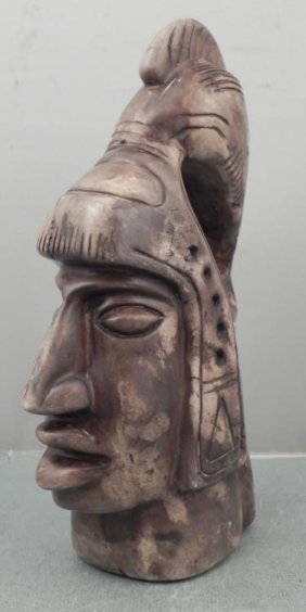 Solid Stone Carved Head Native Primitive Sculpture
