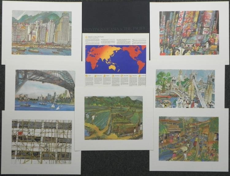 Set Of 7 Franklin McMahon Prints Continental Bank -Asia