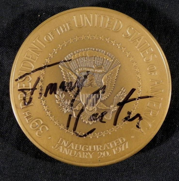 Jimmy Carter Signed Bronze Coin Franklin Mint 1977
