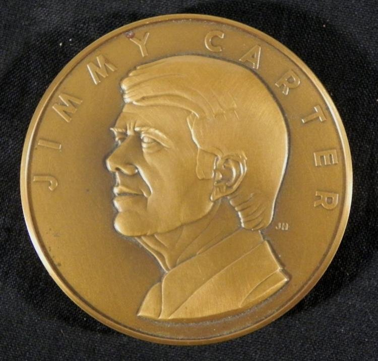 Jimmy Carter Signed Bronze Coin Franklin Mint 1977 - 2