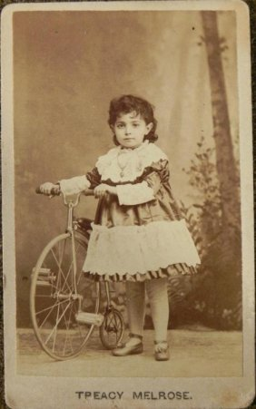 Antique CDV Photo Girl & Bike Penny Farthing Bicycle