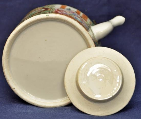 Rose medallion teapot with cover late Qing. - 6