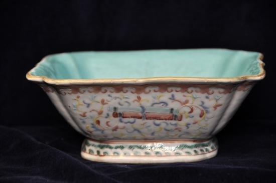 Chinese porcelain square shape bowl floral decoration