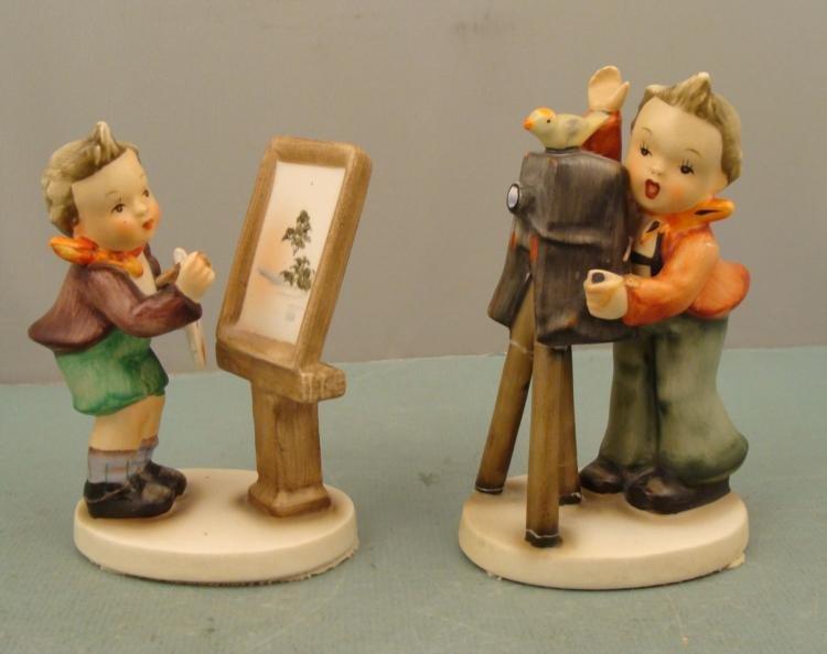 2 Napco Vintage Hummel-Like Ceramic Figurines Children