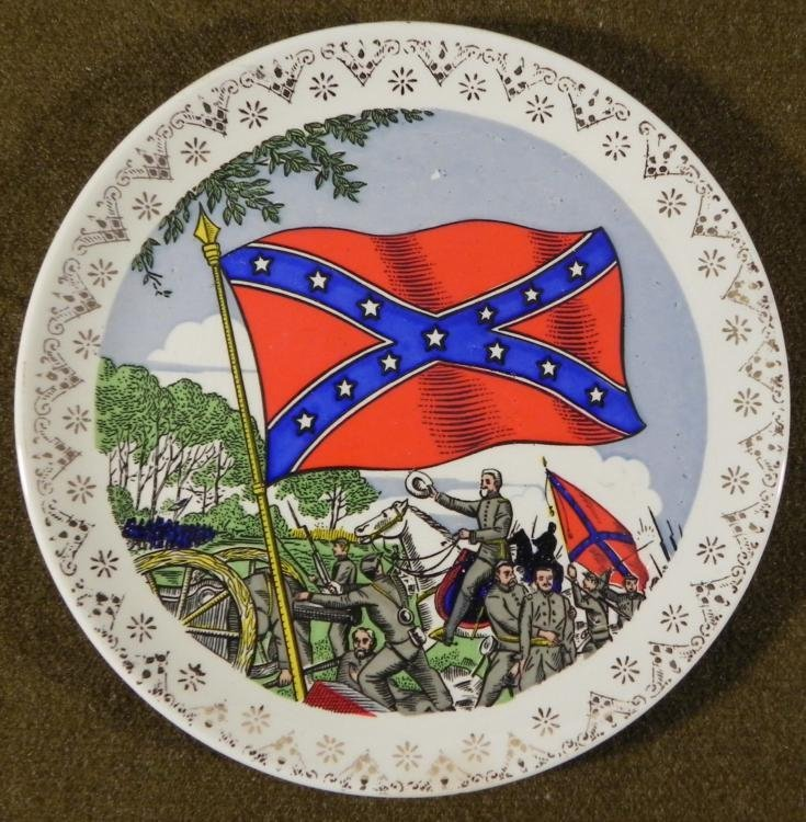 """VINTAGE 7"""" CONFEDERATE/CSA PLATE-FLAG/SOLDIERS"""