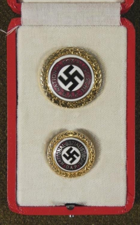 CASED SET GOLDEN NAZI PARTY PINS-NUMBERED IN RED FITTED