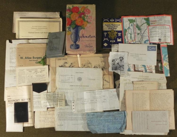 OLD BOX WITH WWII ERA MILITARY CLIPPINGS, ORDERS, PAPER