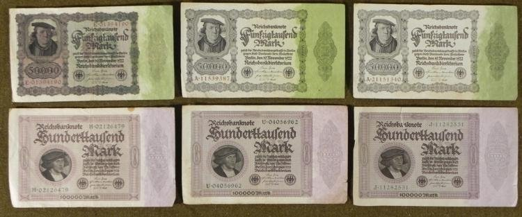 6 PIECES OF PRE-NAZI GERMAN INFLATION CURRENCY-1920