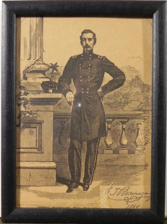 """6X8"""" FRAMED PRINT OF G.T. BEAUREGARD-1869"""