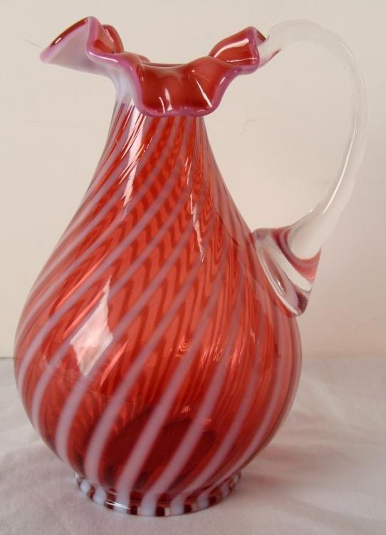 Fenton Cranberry Opalescent Ruffled Swirl Pitcher