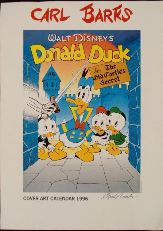 Walt Disney Donald Duck Signed Carl Barks Litho Print