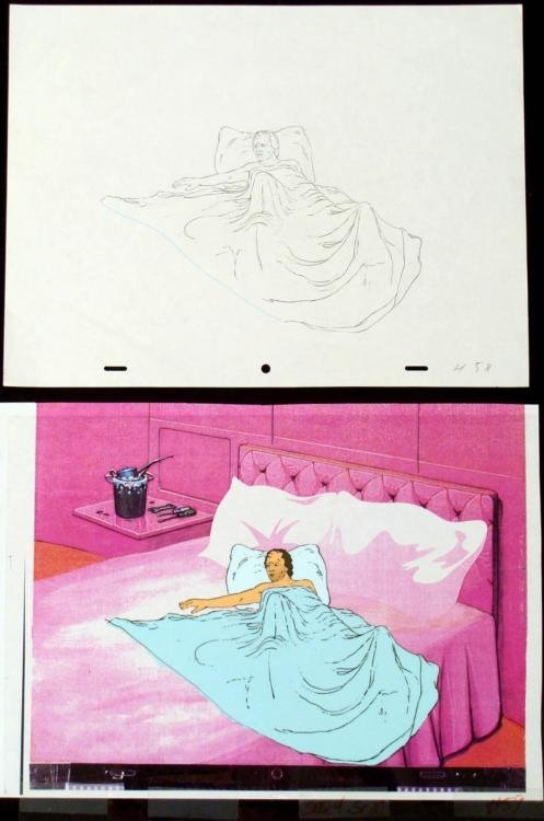 Guy In Bed Background Cel Drawing Orig Animation Art
