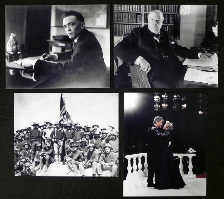 4 Historical Figure Photos Teddy, Edgar, Clinton, WWII