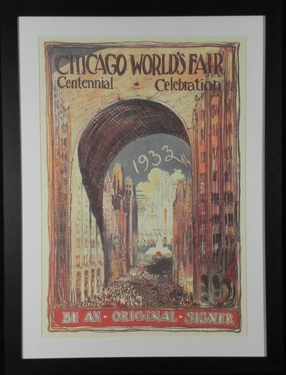 Chicago 1933 Worlds Fair Century Art Poster Framed