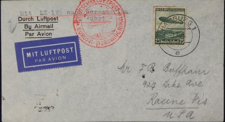 German Graf Zeppelin Hindenburg Stamp Env WWII Nazi