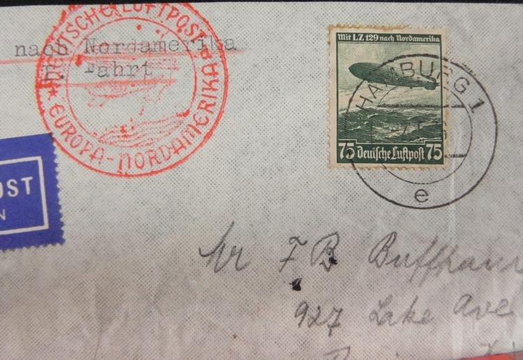 German Graf Zeppelin Hindenburg Stamp Env WWII Nazi - 3