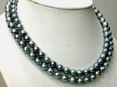 35IN TAHITIAN REAL BLACK GREEN PEARL NECKLACE