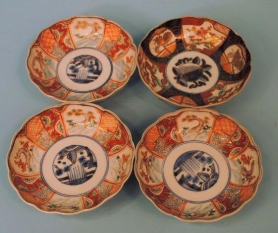 Four Japanese Fluted Imari Bowls Miji c1880: three 6in