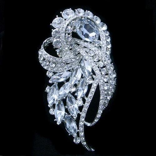 DAZZLING 3.75IN Swarovski Crystal Floral Brooch Pendant