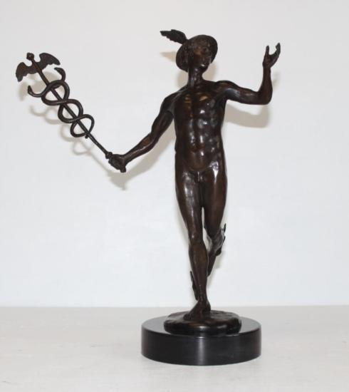 Superb Nude Mercury and Caduceus Bronze Sculpture Aft