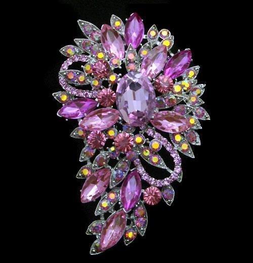 Unique Multicolor Swarovski Crystalv Floral Brooch / Pe