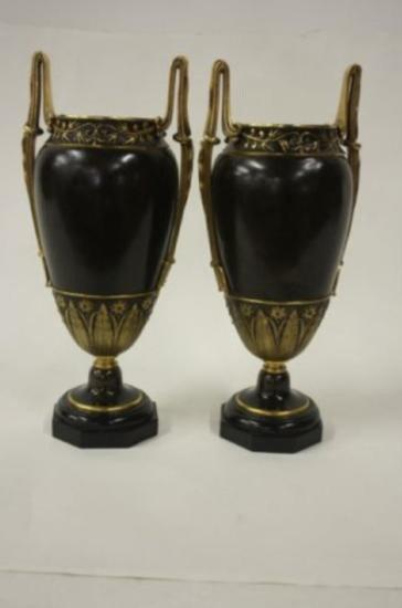 Pair 19th Century Mixed Metal Urns