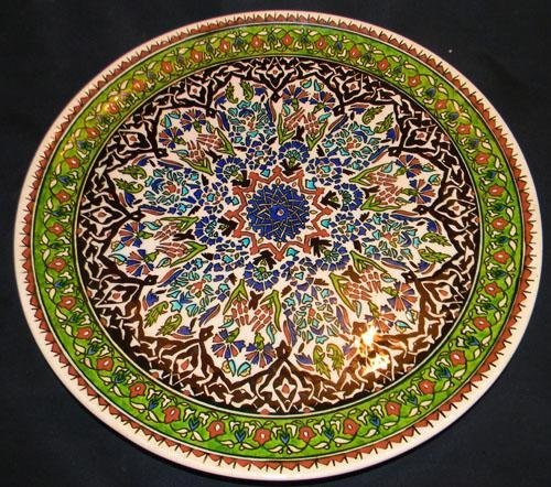 MWF1401 Antique Persian Floral Garden Pottery Charger.