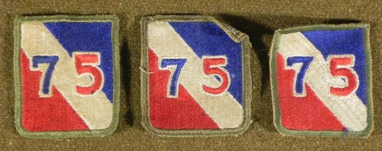 3 WWII 75TH DIVISION PATCHES -NICE ORIGINALS