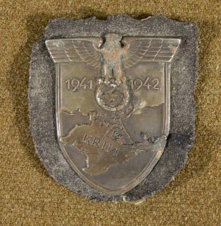 NAZI EARLY WAR KRIM SHIELD-1941-42-ORIG-EAGLE, SWASTIKA