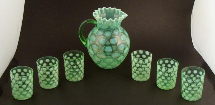 7 Pc Fenton Green Vaseline Opalescent Pitcher Set Signd