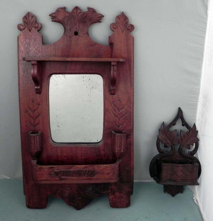 Antique Wood Carved Wall Mirror & Holder w/ Birds