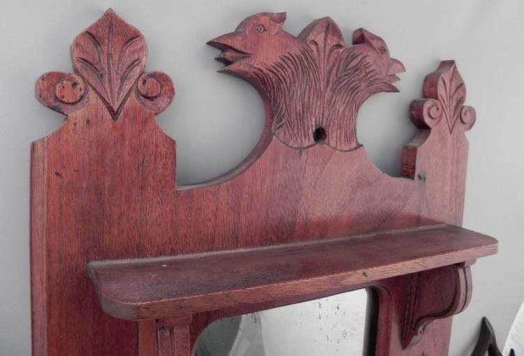 Antique Wood Carved Wall Mirror & Holder w/ Birds - 2
