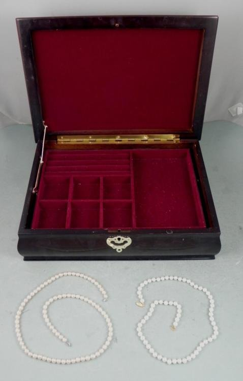 Large Wooden Jewelry Box Case w/ 2 Faux Pearl Necklaces