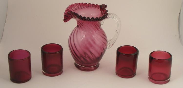 5 Pc. Fenton Glass Cranberry Swirl Pitcher Set