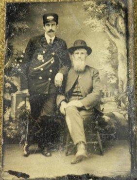 Antique Tintype Man in Uniform: Police, Railroad?