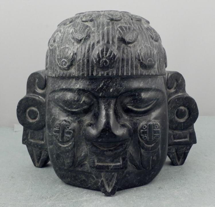 Solid Marble Carved Head Native Primitive Sculpture