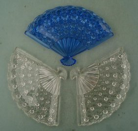 3 Fenton Crystal Button & Diamond Fan Dish Trays Blue