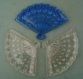 3 Fenton Crystal Button & Diamond Fan Dish Trays Blue