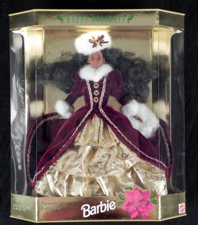 Happy Holidays African American Barbie Doll Mattel MIB