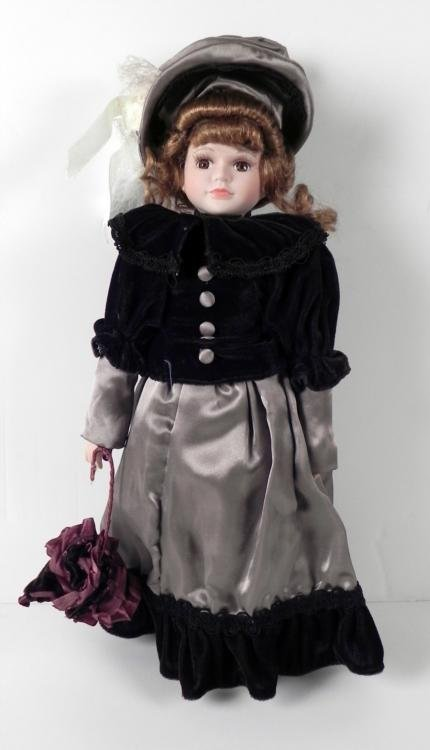 Bisque Girl Doll 19th Century in Purple Velvet 18 In.
