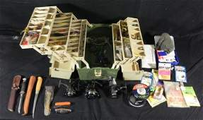 Vintage Plano 8606 Fishing Tackle Box w/ Accessories