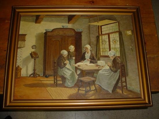 Oil on canvas Maids at work signed HL