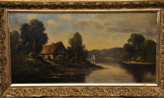 Hudson river school landscape painting signed