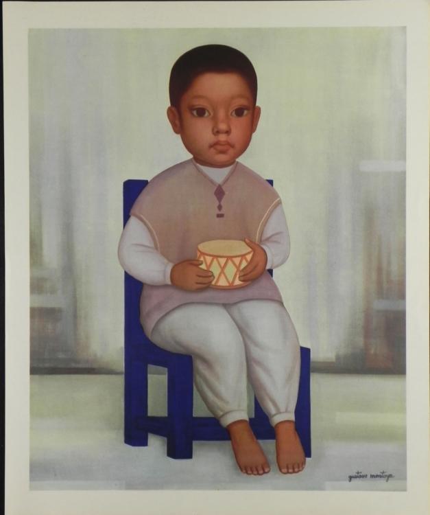 Gustavo Montoya Mexican Art Print Boy With Drum