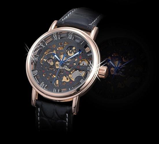 AK-Homme See Through Mechanical Mens Wrist Watch leathe
