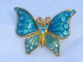 Beautiful Rhinestone and Enamel Butterfly Brooch