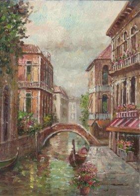 MWF1383W 5x7 Oil on Board Depiciting Venice Gondola Sc